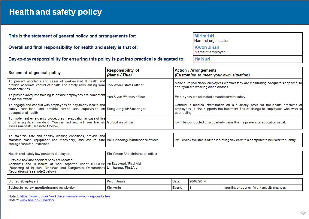 Hse Health And Safety Policy Template Health And Safety Implications Risk Assessment Report Jin Ah Kwon