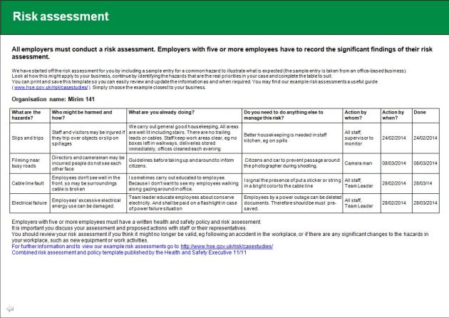 Health And Safety Implications Risk Assessment Report  Jin Ah Kwon